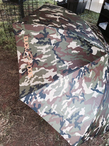 "Large Camo Umbrella - 60"" Camo Umbrella with the DuckDog logo printed on one of the panels."