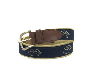 J - DD - Logo - Ribbon Belt - Navy on Camel