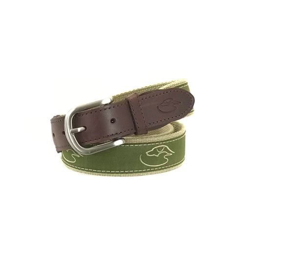 J - DD - Logo - Ribbon Belt - Olive on Camel
