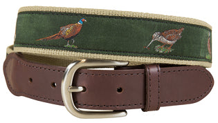 J - BC Belt - Woodland Birds - Green on Camel