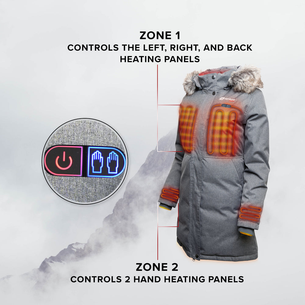 Women's Dual Control Heated Parka - Expedition 2.0 - Down Fill Gray