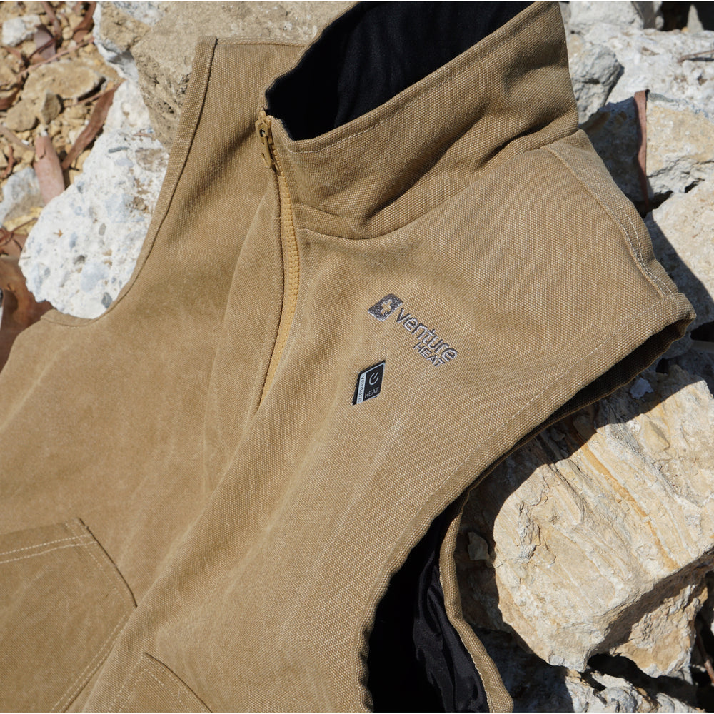Men's Quad-Zone Heated Canvas Vest - Canyon 2.0 - Sandstone