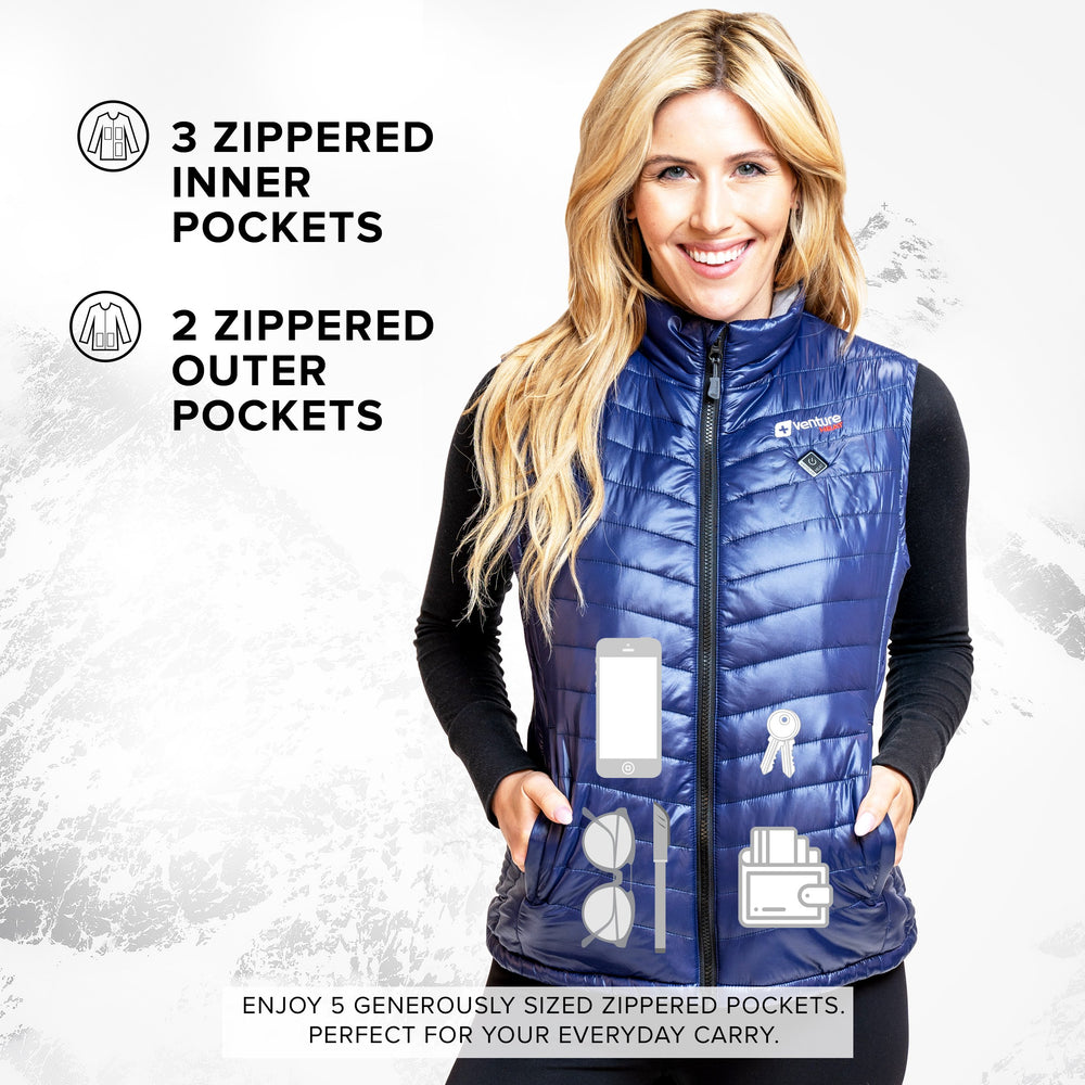 Women's Tri-Zone Insulated Heated Puffer Vest - Roam 2.0 - Navy - FINAL SALE