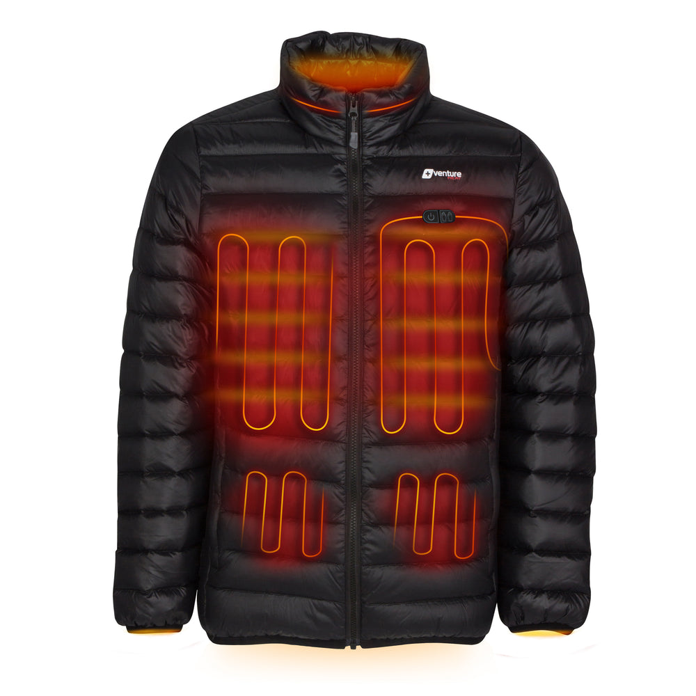 Men's Dual Control Heated Puffer Jacket - Wander 2.0 - Down Fill Black