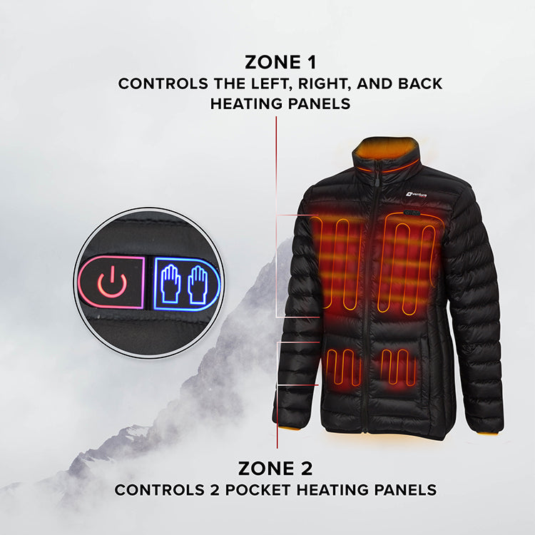 Women's Dual Control Heated Puffer Jacket - Wander 2.0 - Down Fill Black
