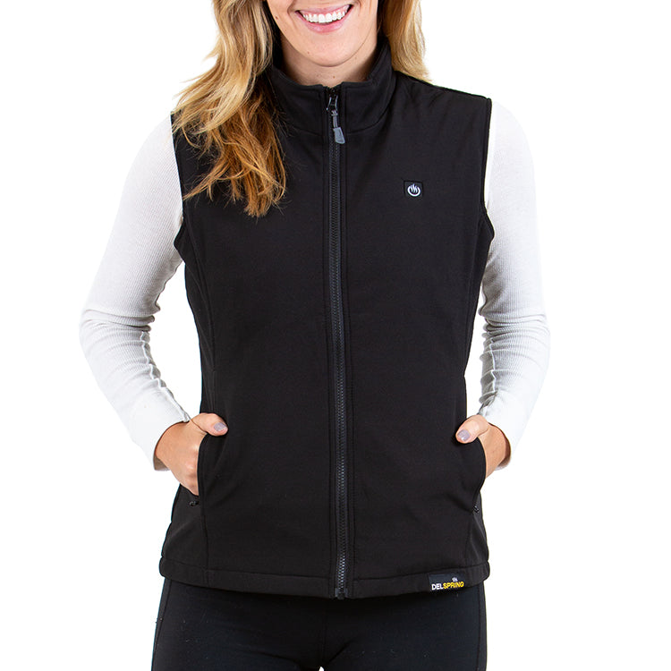 Delspring Battery Heated Soft Shell Vest 5V (Black) - FINAL SALE