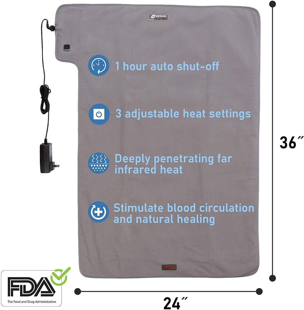 "XXL 36"" x 24"" Deluxe Half Body Far Infrared Ray Heat Therapy Pad - Gray"