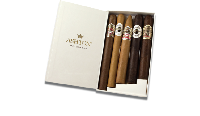 Ashton - Collection-Sampler - 5 verschiedene handgerollte Zigarren -  Dom. Rep.