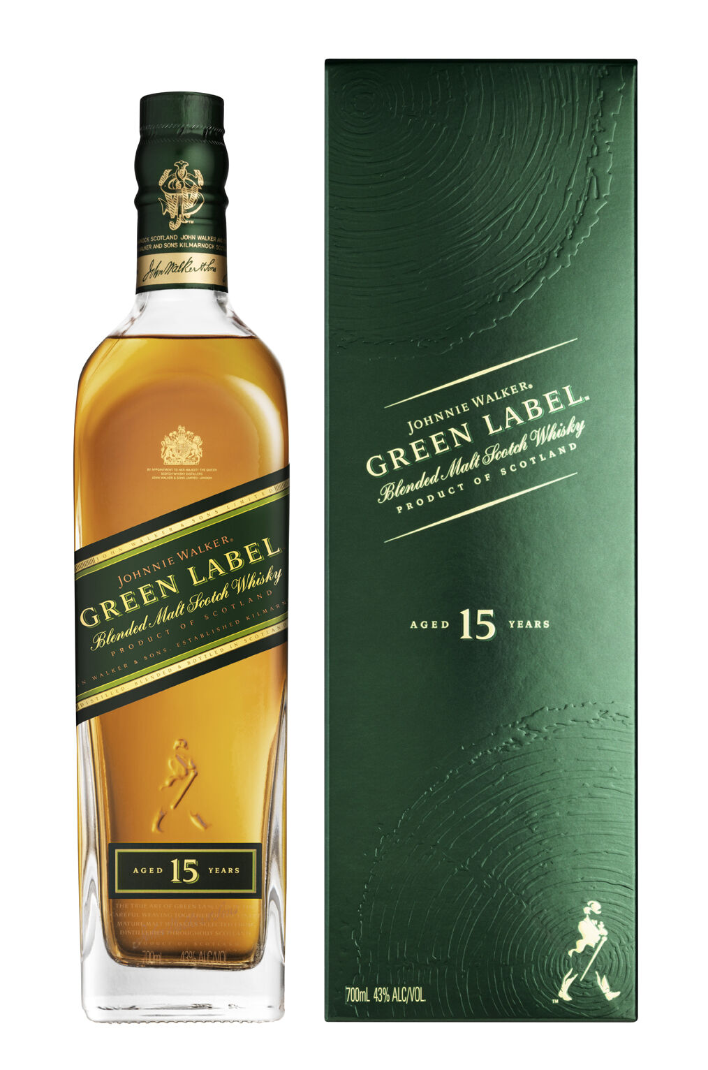 Johnnie Walker - Green Label - 15 Jahre - Blended Scotch Whisky - 0,7l-Flasche
