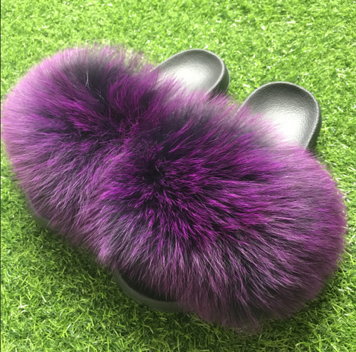 Purple Fluffy Fur Slides