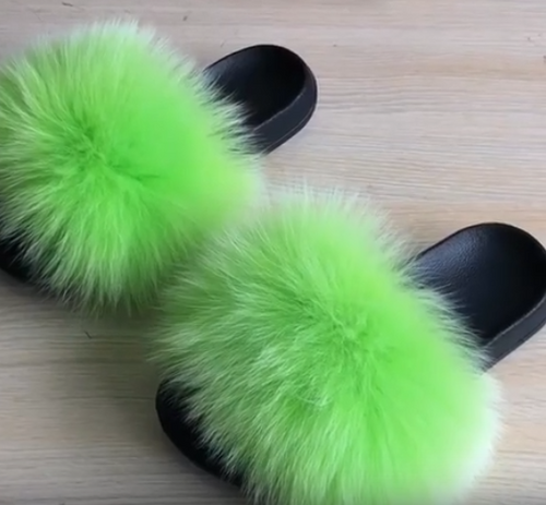 Electric Green Fluffy Fur Slides