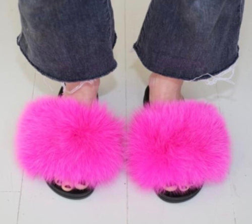 Hot Pink Fluffy Fur Slides