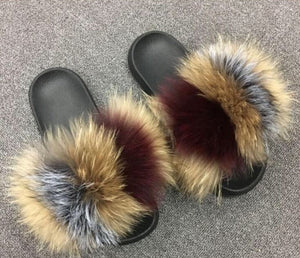 Multi Mix Fluffy Fur Slides