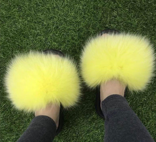 Yellow Fluffy Fur Slides