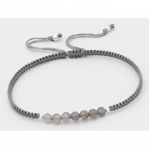 Bali Beaded Stone Adjustable Bracelet - Gray