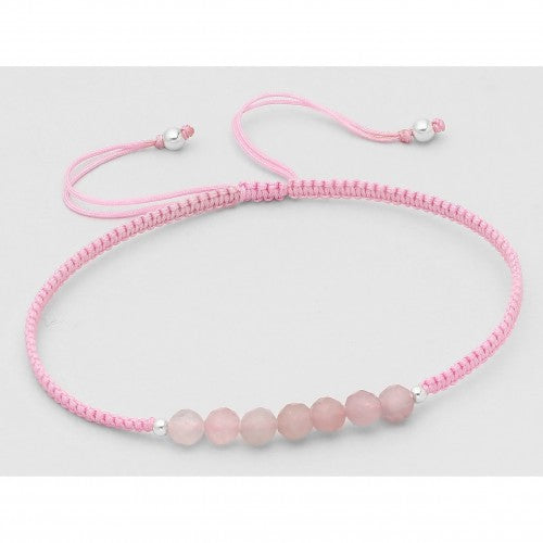 Bali Beaded Stone Adjustable Bracelet - Pink