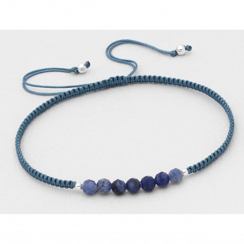 Bali Beaded Stone Adjustable Bracelet - Stone Blue