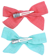 Load image into Gallery viewer, Sailor Cloth Bows - Mint & Melon