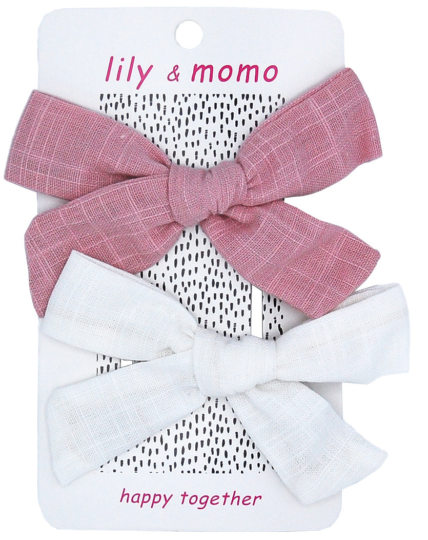 Sailor Cloth Bows - Rose & Ivory