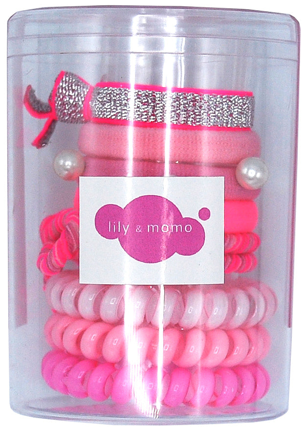 Hair Ties Color Pop Set - Pink