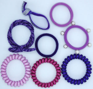 Hair Ties Color Pop Set - Purple