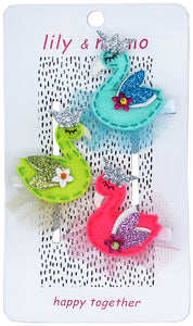 Princess Swan Trio Hair Clips