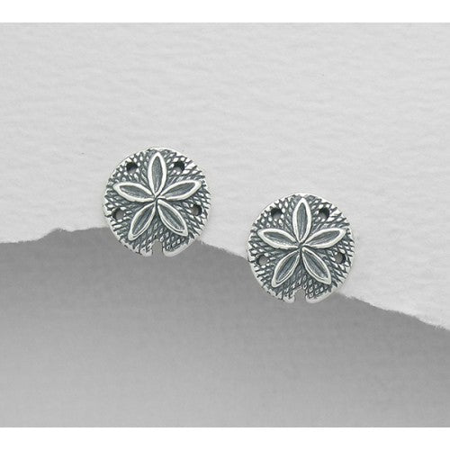 Seaside Sand Dollar Sterling Silver Earrings