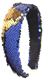 Sequin Headband - Cobalt Blue and Gold
