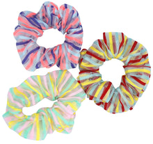 Load image into Gallery viewer, Stripe Organza Scrunchie Trio
