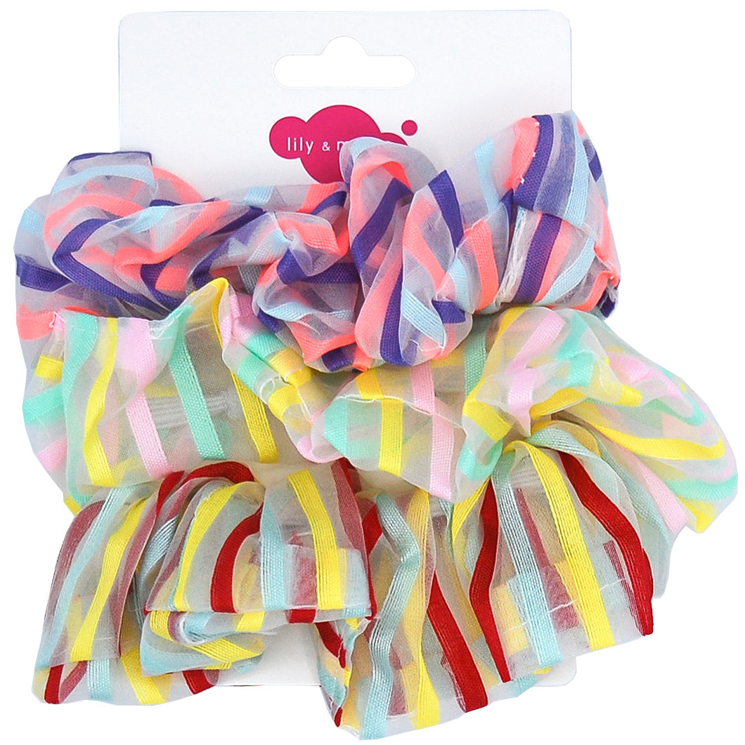 Stripe Organza Scrunchie Trio