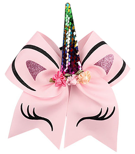 Unicorn Bow Ponytail Holder - Pink