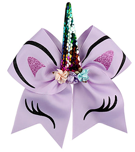 Unicorn Bow Ponytail Holder - Purple
