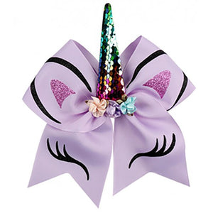 Unicorn Bow - Ponytail Holder - Purple