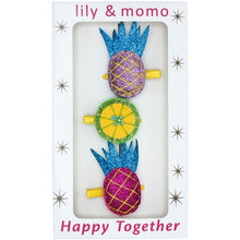 Load image into Gallery viewer, Pretty Pineapple Trio Hair Clip Box Set