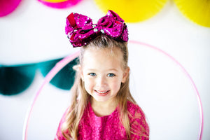 Big Sequin Bow - Hot Pink