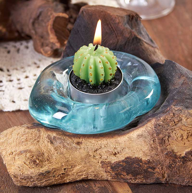 Bali Wood Handcrafted Molten Glass Candle Holder
