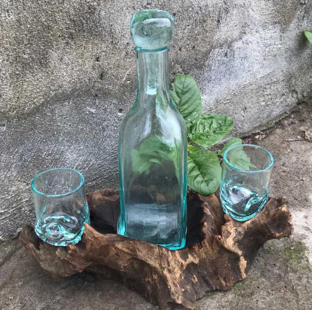 Bali Wood Handcrafted Molten Glass Whiskey Set