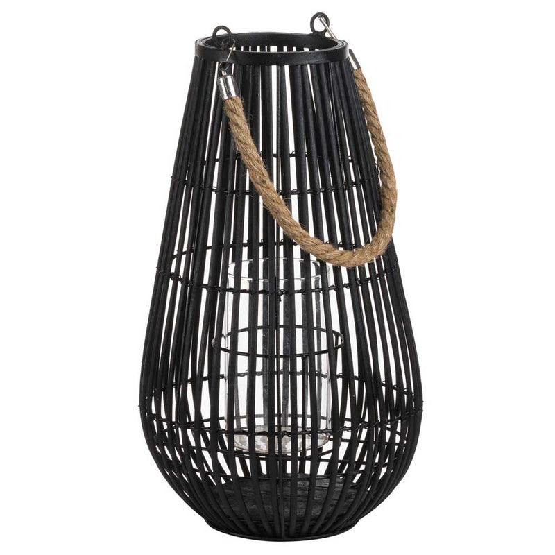 Black Rattan Domed Lantern
