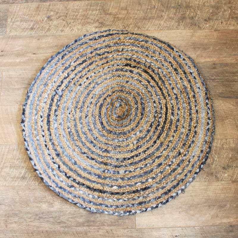 Round Jute and Recycled Denim Rug