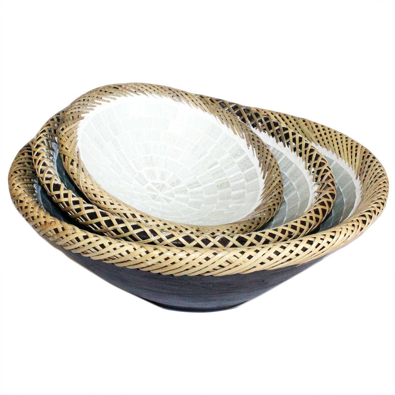 Rattan Mosaic Bowls, White Marble (set of 3)