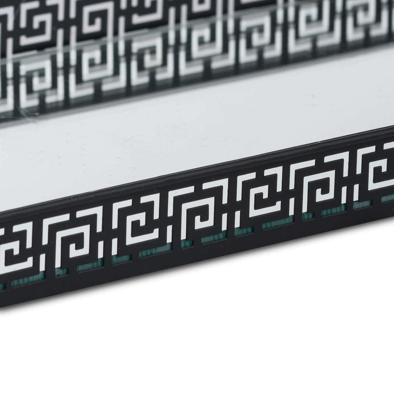 Rectangular Aztec Black Mirrored Trays (Set of Two)