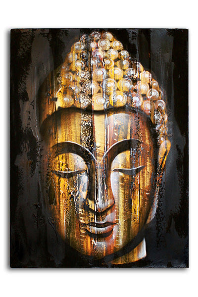 Wood Buddha Golden 80x60cm