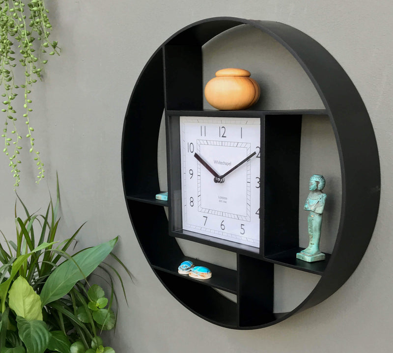 Black Wall Hanging Shelf Unit & Clock