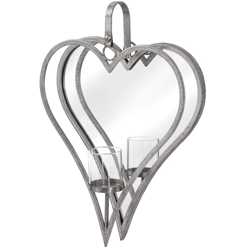 Antique Silver Mirror Heart