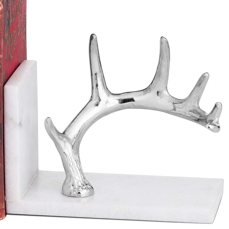 Nickel Antler & Marble Bookend
