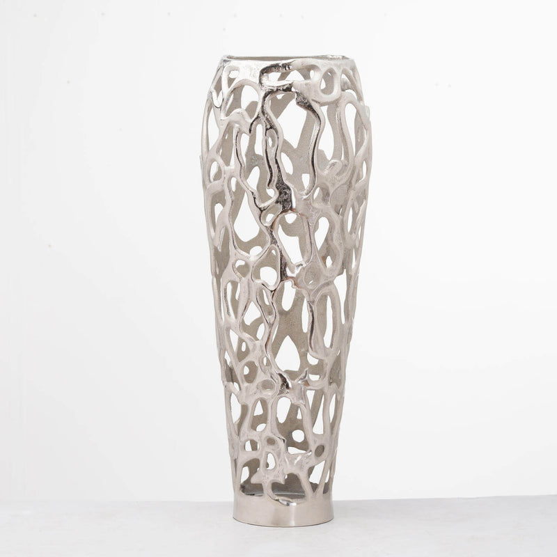 Ohlson Silver Perforated Coral Inspired Vase (Large)