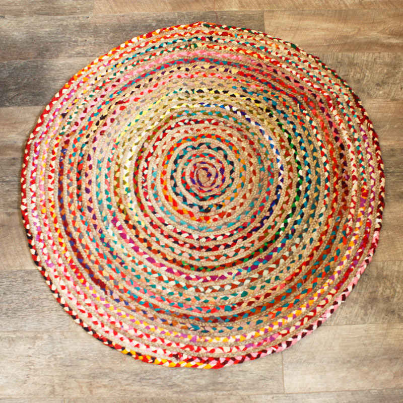 Round Jute and Recycled Cotton Rug