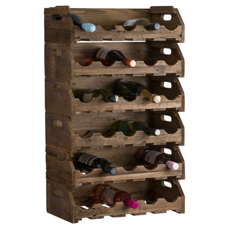 Rustic Wooden Stacking 5 Bottle Wine Crate