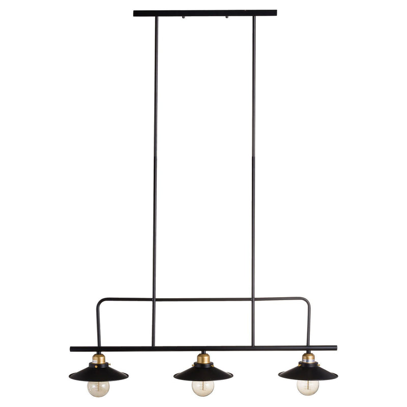 Triple Hanging Black And Brass Industrial Light