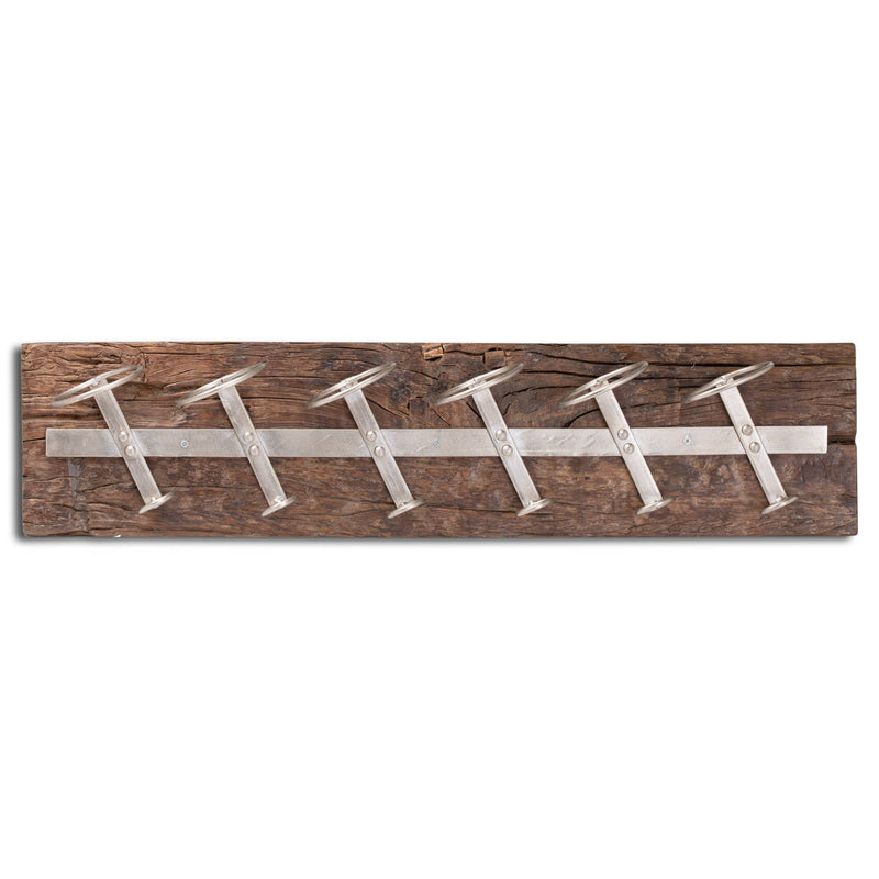 Reclaimed Timber 6 Bottle Wine Rack - Wall Mounted